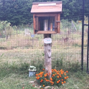 a Little Free Library at the gardens